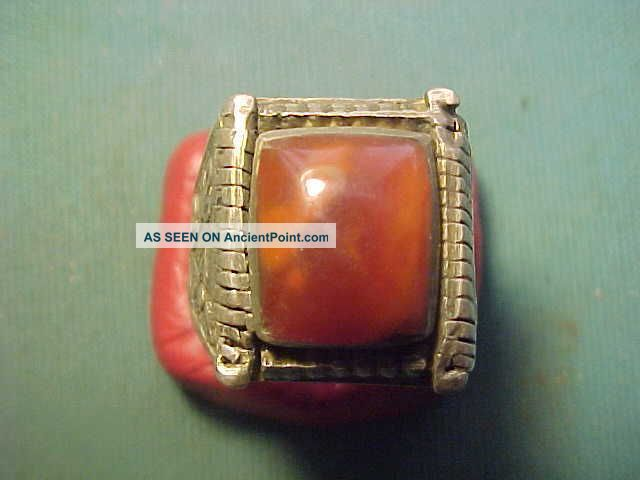 Near Eastern Hand Crafted Solid Silver Ring With Carnelian Stone 1700 - 1900 Near Eastern photo