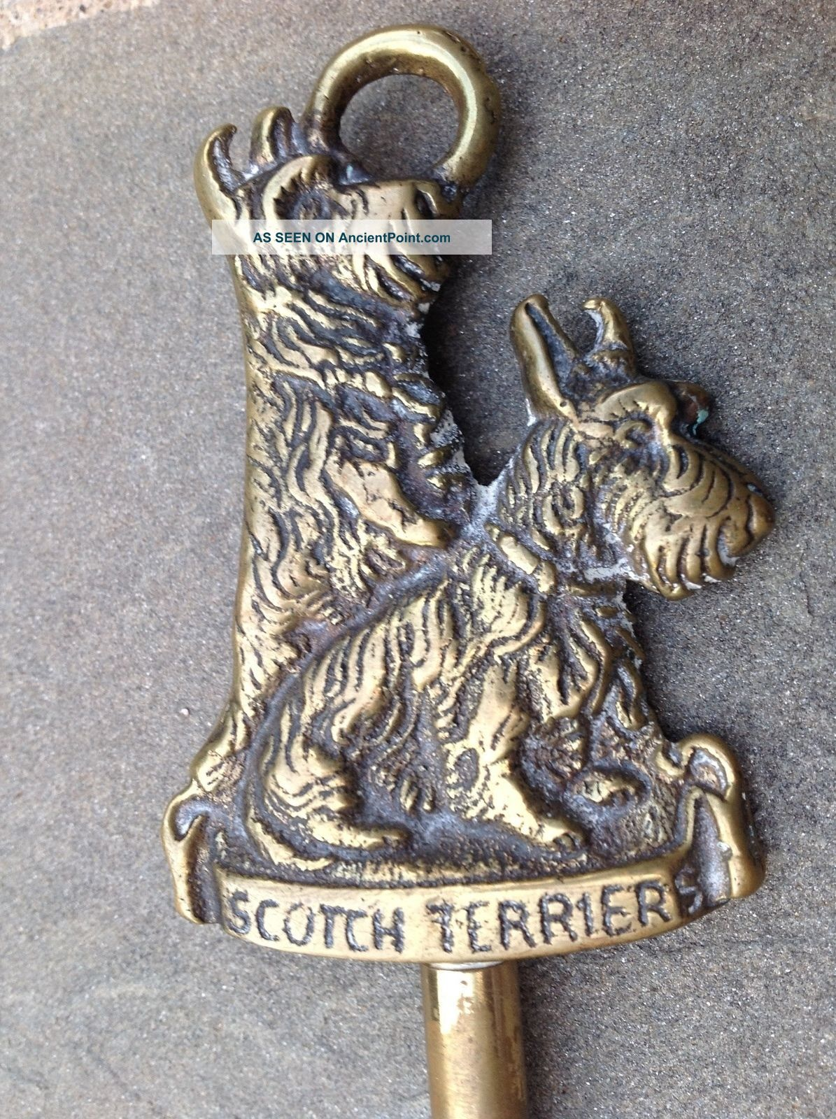 Antique Brass Scotch/scottish Terrier Dog Swivel Head Toasting Fork Hearth Ware photo