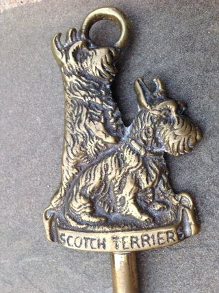 Antique Brass Scotch/scottish Terrier Dog Swivel Head Toasting Fork photo