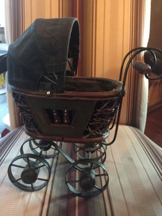 Vintage Antique Doll Baby Carriage - Wood & Metal - Decor photo