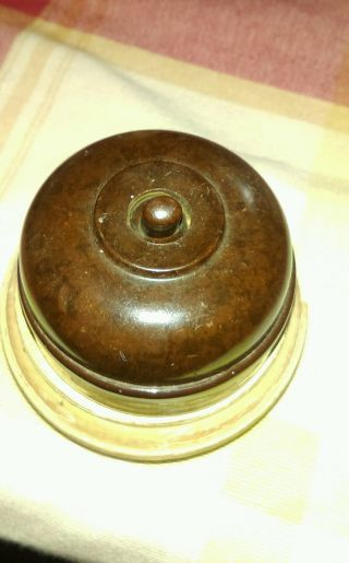 Vintage Bakelite Light Switch On Wooden Pattress photo