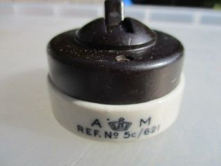 Vintage Bakelite & Ceramic Light Switch Air Ministry A.  M Antique Art Deco Old photo