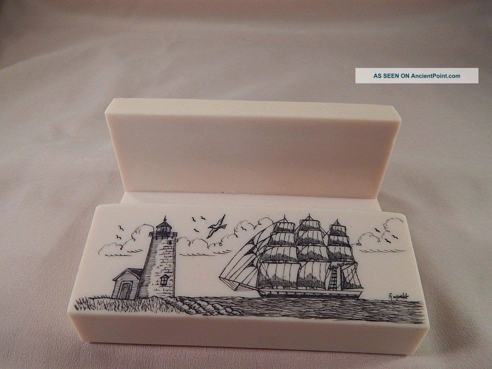 Scrimshaw Resin Nautical Business Card Holder - Side Ship - Lighthouse Scrimshaws photo