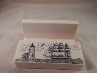Scrimshaw Resin Nautical Business Card Holder - Side Ship - Lighthouse photo