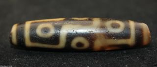 58 14 Mm Oriental Vintage Unusual Tibetan Old 9 Eyes Dzi Bead photo