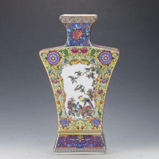 Chinese Cloisonne Famille Rose Porcelain Hand Painted Flower & Bird Vase C226 photo