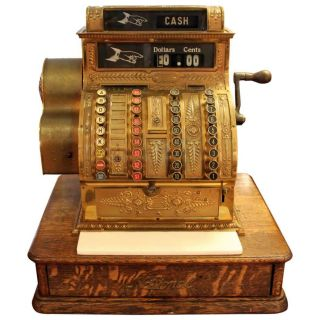 Antique Brass Cash Register By National Cash Register Company,  1910 - 1915 photo