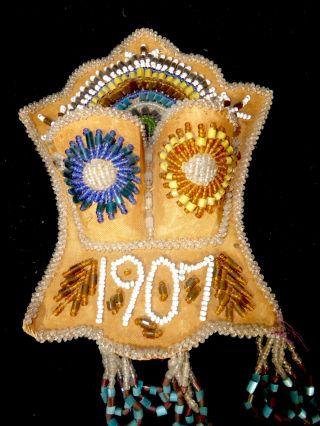 Vintage Iroquois Beaded 1907 Match Holder Whimsey Folk Art Aafa photo