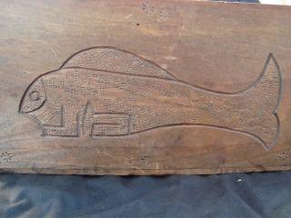 Antique Eskimo Wooden Utility Box Alaskan Native American Indian Made photo