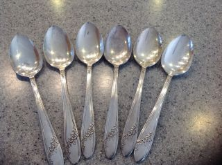 6 Queen Bess Ii Oval Soup Spoons By Oneida Community Tudor Plate Silver Plate K photo