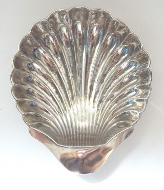 Large Shell Dish Butter Oyster Solid Sterling Silver Rococo Revival Cooper 1914 photo