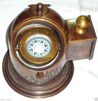 Antique - Brass Binnacle Compass / Nautical Boat Lamp / Oil Lamp - photo