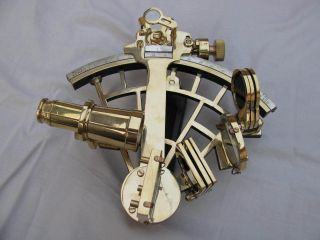 Solid Brass Sextant Marine Heavy Handheld Ship Astrolabe Nautical Decor photo
