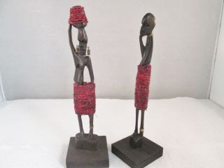 Vintage Pair Hand Carved Wooden African Tribal Sculpture Figures 8 - 1/2