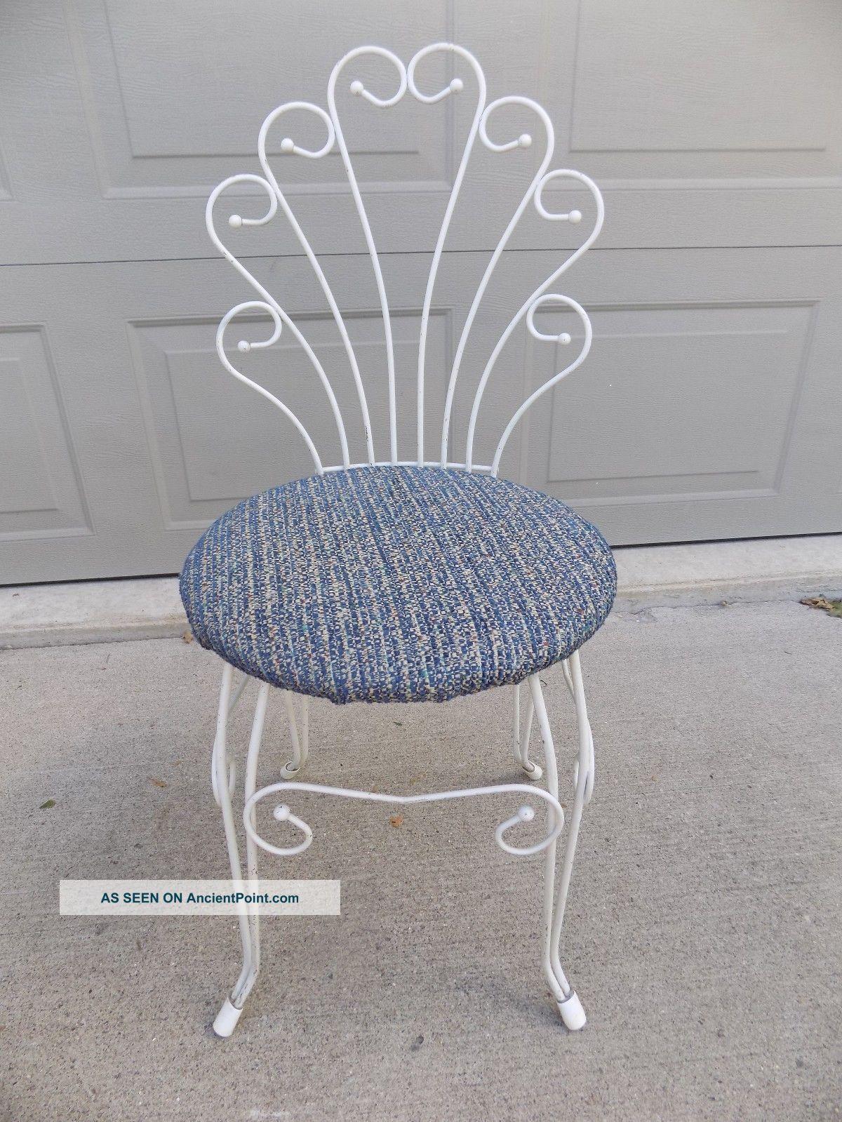 Vintage Vanity Stool Seat Bench Chair Cushion Fan Back White Metal Navy Seat