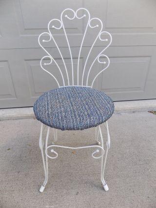 Vintage Vanity Stool Seat Bench Chair Cushion Fan Back White Metal Navy Seat photo
