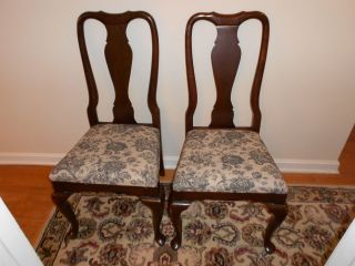 Georgian Court Ethan Allen Side Dining Chair Solid Cherry 225 Queen Anne Pair photo
