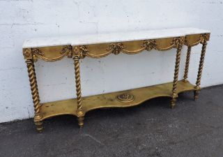 French Long Narrow Marble Top Console Table Distressed Gold Leaf 7682 photo
