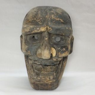 A170: Very Old Japanese Wood Carving Big Noh Mask Of Jealous Female Demon Hannya photo