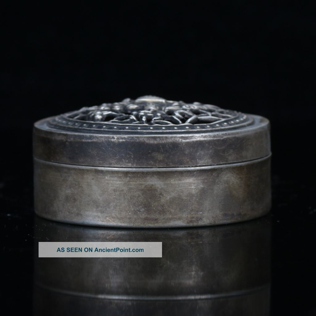 Chinese Antique Silver Hand Carved Hollow Lid Box W Liji Pure Silver Mark C932 Boxes photo
