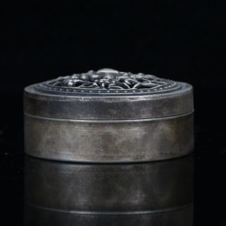 Chinese Antique Silver Hand Carved Hollow Lid Box W Liji Pure Silver Mark C932 photo