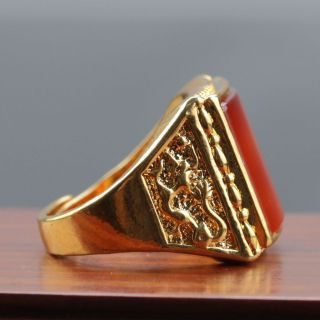 Chinese Exquisite Gilt Brass Inlaid Beeswax Handwork National Fashion Ring photo