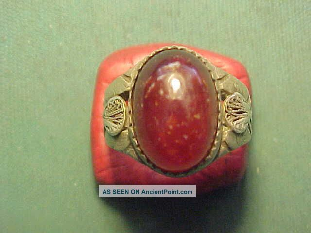 Near Eastern Hand Crafted Solid Silver Ring,  Carnelian Stone Circa 1700 - 1900 Near Eastern photo