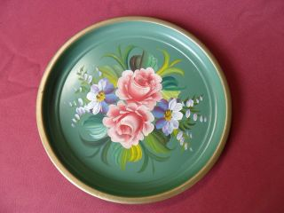 Vtg Shabby Cottage Toleware Tole Handpainted Tray Roses Light Green 11.  5