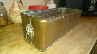 Vintage Copper Trough Tub Planter Plant Pot Brass Lions Head Handle Antique Old photo