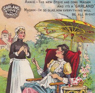 Garland Michigan Stove Detroit Ranges Victorian Lady Maid Advertising Trade Card photo
