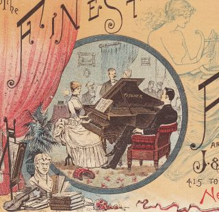 J C Fishcher Piano Co 1800 ' S Ny Victorian Advertising Trade Card At Club Concert photo