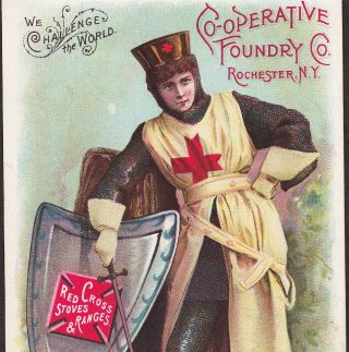 Joan Of Arc Liberated Woman Red Cross Stove Range Co Rochester Ny Ad.  Trade Card photo