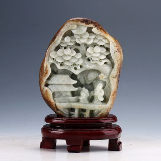 100 Natural Hetian Jade Hand Carved Old Man & Tree Statue D859 photo