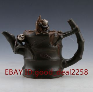 Chinese Yixing Zisha Handmade Teapot And Panda Lid By Chen Mingyuan photo