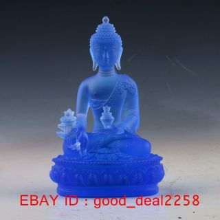 Chinese Coloured(18 - 19th) Glaze Hand - Carved Buddha Statue photo