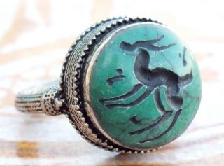 Vintage Round Regional Bedouin Jewelry Tribal Green Turquoisestone Arabic Rings photo