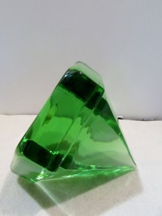 Windjammer Boat Deck Prism Green Solid Glass W/ Wooden Box photo