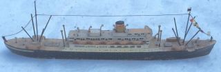 Vintage Folk Art Handmade Wooden Model Boat Ms St Louis photo