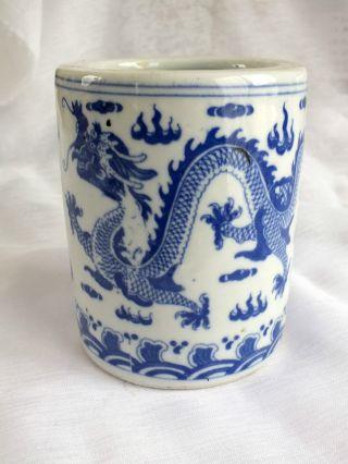 Chinese Blue Lucky Dragon Pen Brush White Ceramic Pot Cutlery Holder Japanese photo