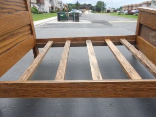 Final Price - Salesman Sample / Antique Oak Slat Bed / Doll Display photo