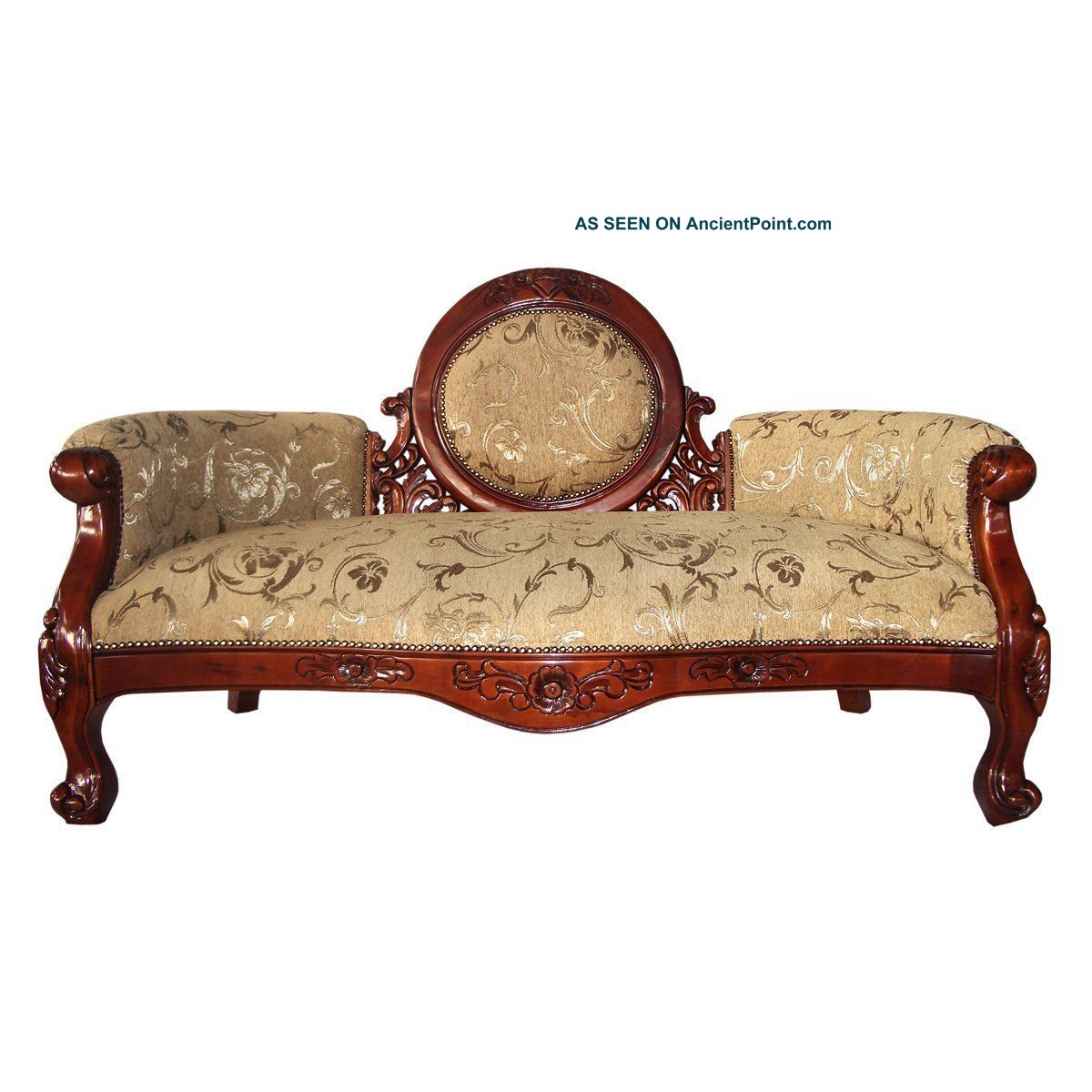Ks1022 Victorian Cameo - Backed Sofa - Hand Carved Replica - 1800-1899 photo