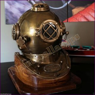 Antique Copper Brass Diving Divers Helmet Deep Sea Navy Diver Mark V 18