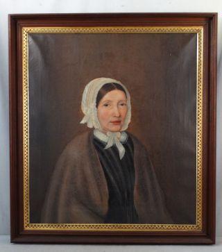 19thc Antique Victorian Era Lady In Bonnet Primitive Nc Estate Portrait Painting photo