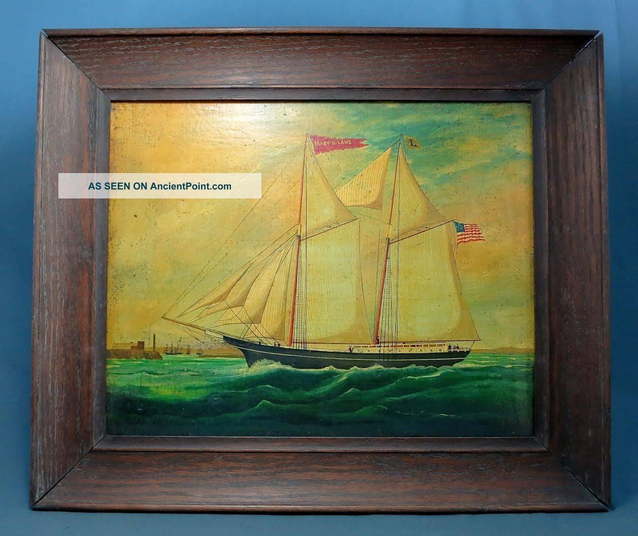19th C.  China Trade Portrait Of The American Full - Rigged Brig ' The Mary D Lane ' Other Maritime Antiques photo