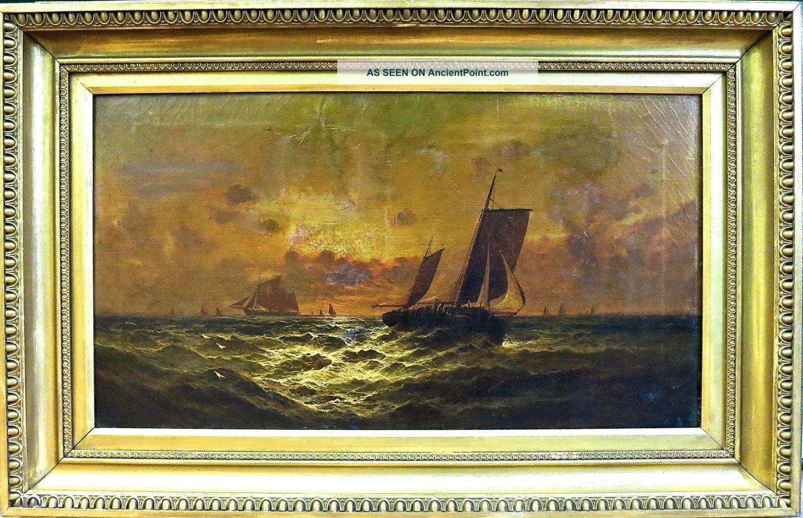 Sidney Yates Johnson (british 1890 - 1929) Ships At Sunset - Signed & Dated 1898 Other Maritime Antiques photo