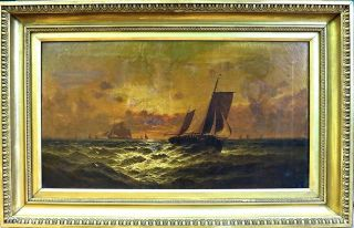 Sidney Yates Johnson (british 1890 - 1929) Ships At Sunset - Signed & Dated 1898 photo