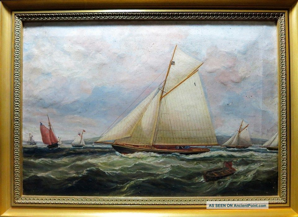 Outstanding C.  1875 Maritime Yacht Race Oil On Canvas Painting - ' The America Cup ' Other Maritime Antiques photo