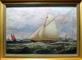 Outstanding C.  1875 Maritime Yacht Race Oil On Canvas Painting - ' The America Cup ' photo