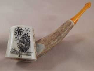 Scrimshaw Deer Antler Pipe - Ship - Compass photo