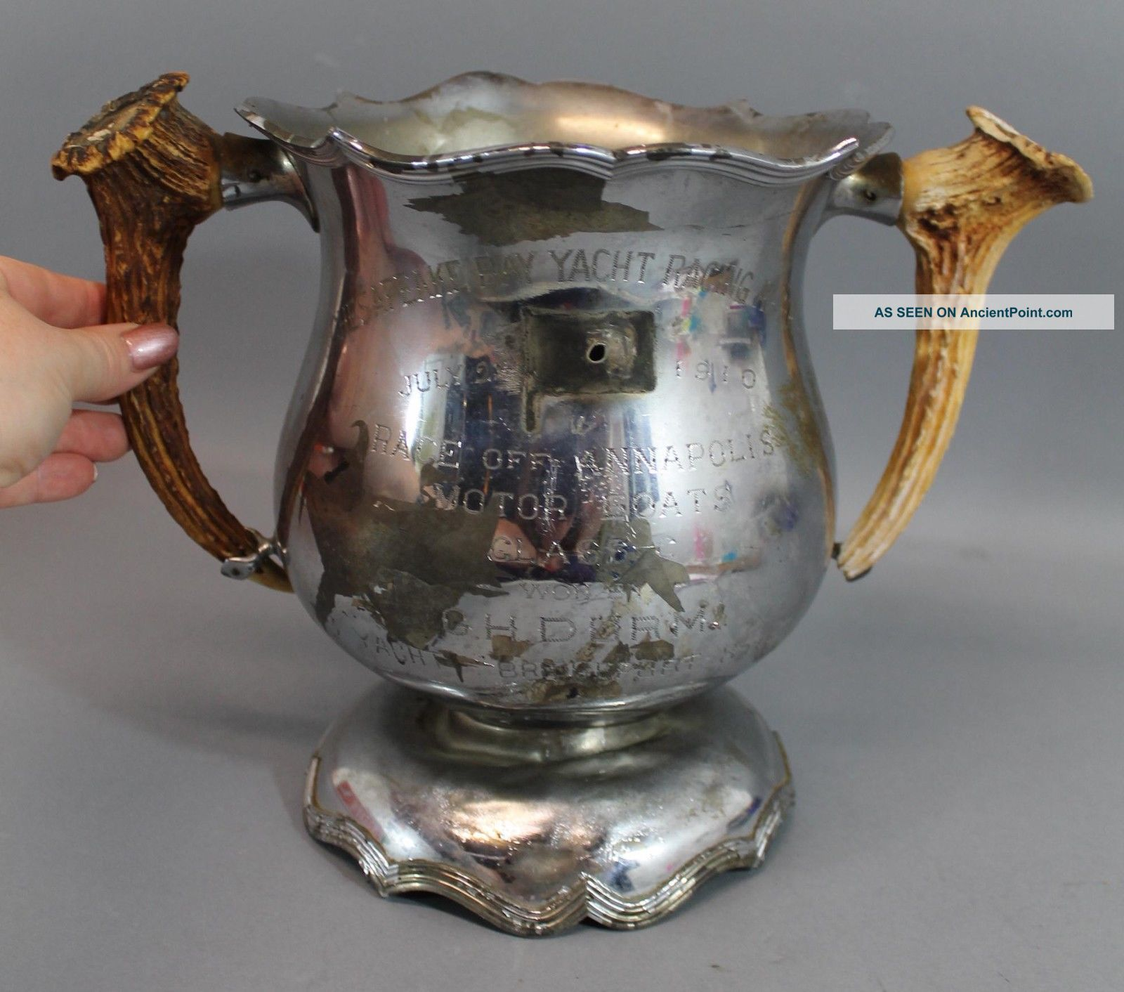 Antique 1910 Motorboat Race 1st Place Trophy,  Chesapeake Bay Yacht Racing Assoc Other Maritime Antiques photo